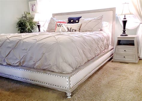 white wood bed ana white wood and upholstered bed king diy projects