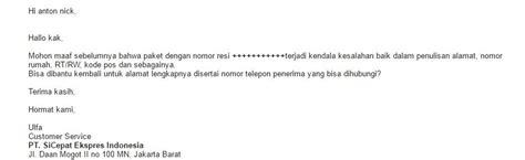 email cs jne pengalaman gunakan sicepat vs jne ba bad address terbaru
