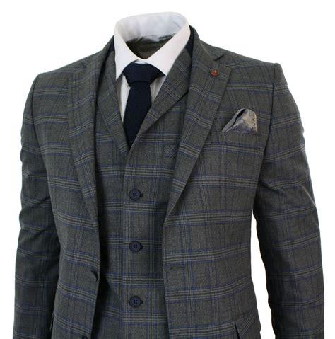 Sliming Suit 3 In 1 mens 3 tweed check grey blue 3 suit slim fit retro vintage formal ebay