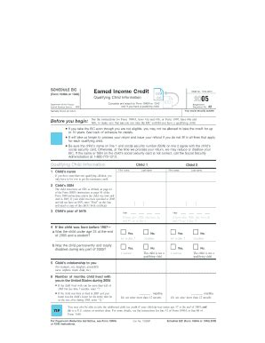 printable schedule eic form form 1040 templates fillable printable sles for pdf