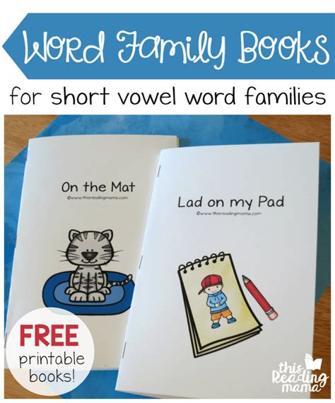 words and your books free printable word family books for vowels this