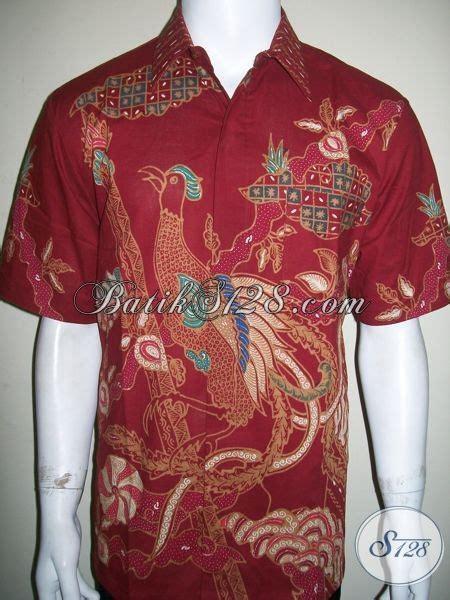 Batik Pria Katun Motif Burung kemeja batik pria motif burung cendrawasih warna merah cocok untuk natal dan imlek ld1302t l