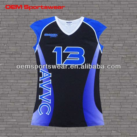 design kaos volley ball sublimated blue and black womens cap sleeve volleyball