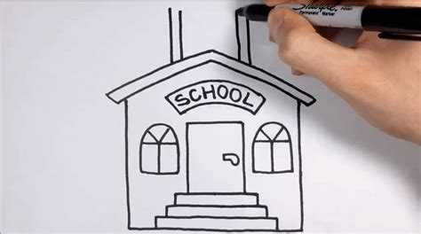 tutorial menggambar gedung menggambar gedung sekolah untuk anak usia dini tk dengan
