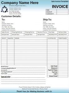 sales invoice template excel pdf formats