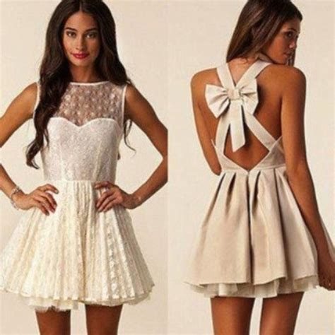 Back Bow Dress dress lace bow back dress mesh bow white back