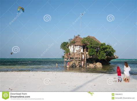 the rock small restaurant on top of the rock michamwi pingwe zanzibar editorial photography