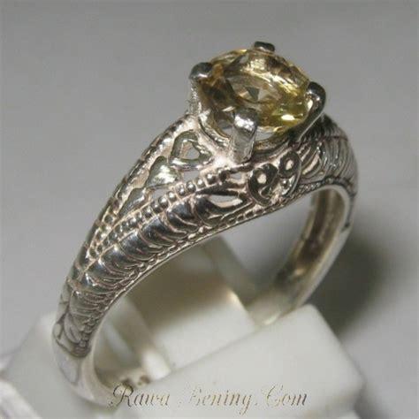 Cincin Wanita Light Sapphire Gemstone Perak Sterling 925 cincin perak 925 dengan permata citrine brazil 0 9 carat