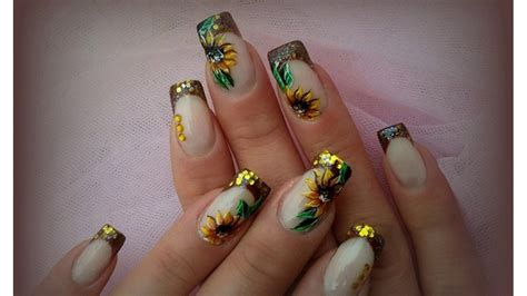 imagenes uñas decoradas con flores u 241 as decoradas con flores de girasol youtube