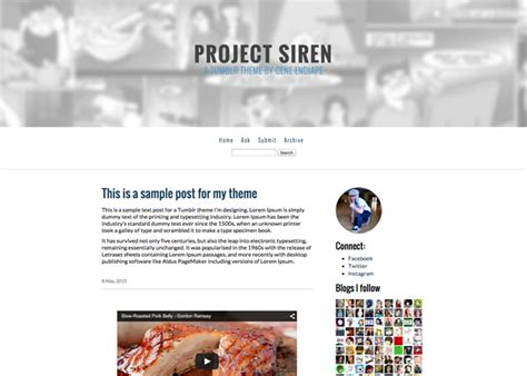 tumblr themes with search bar project siren tumblr