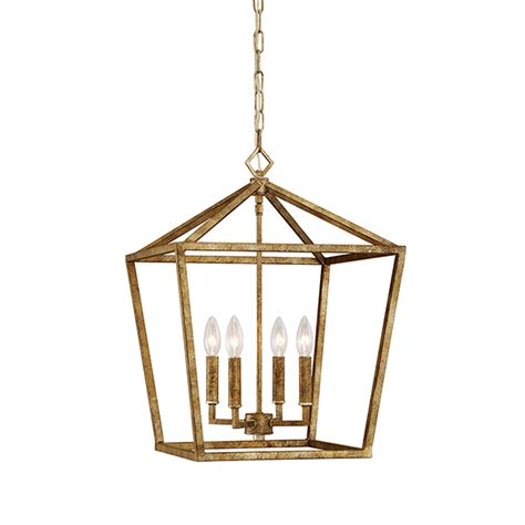 Ballard Designs Office vintage gold 16 inch four light pendant millennium