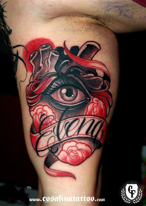 tattoo eye heart tatuaje corazon anatomico ojo rosas pergamino