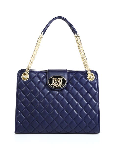 Chain Quilted Shoulder Bag lyst moschino chain quilted shoulder bag in blue