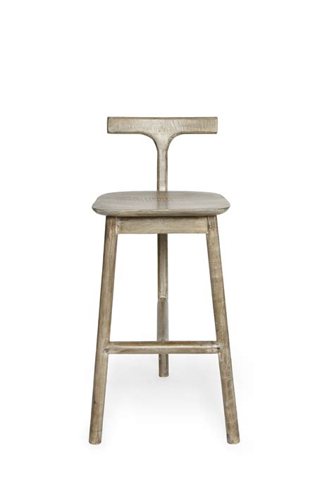 unique bar stool with ivy cap seating picciotto bar salvage wood t back bar stool collection french connection