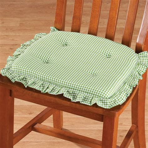 ruffled kitchen chair cushions ruffled gingham chair pad non slip chair pads walter