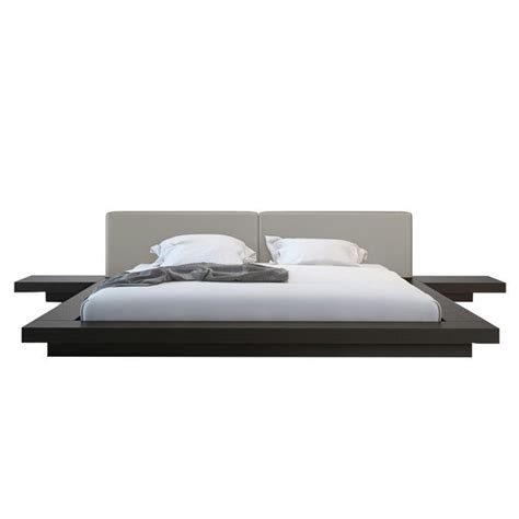 Modern Platform Bed Frame Modern Floating Platform Bed Frame W Leather Headboard Nightstands Bedroom Ebay