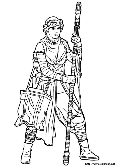 coloring pictures of rey from star wars dibujos para colorear de star wars el despertar de la fuerza