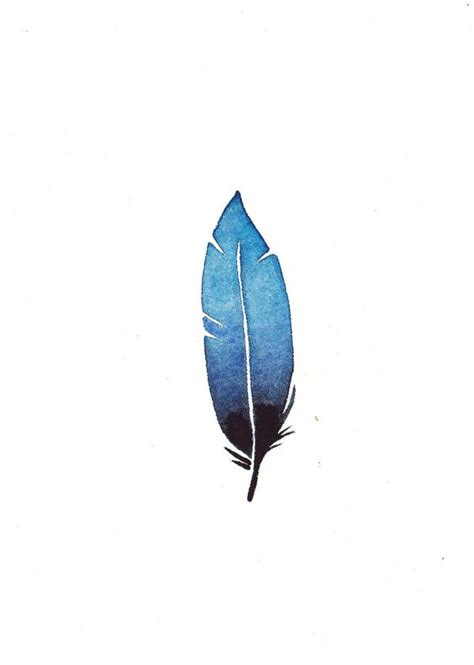 feather tattoo turquoise turquoise blue to navy ombre feather original 5x7