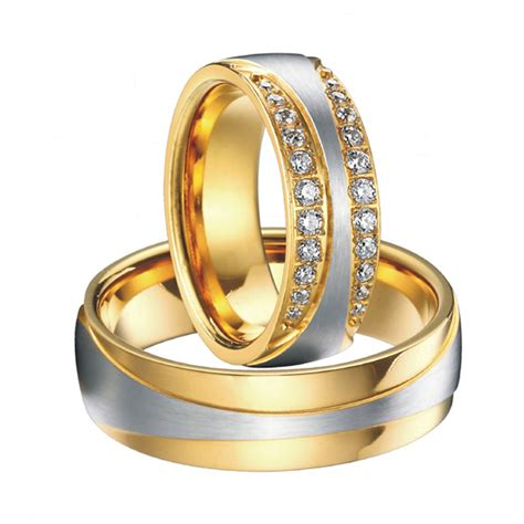 Wedding Bands Pair by 1 Pair Luxury Vintage Gold Plating Cz New Infinity