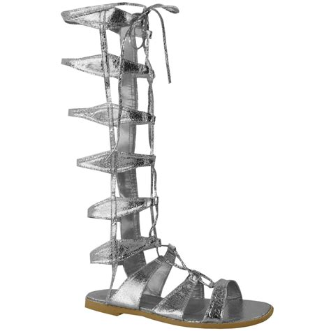 womens flat knee high gladiator sandals strappy