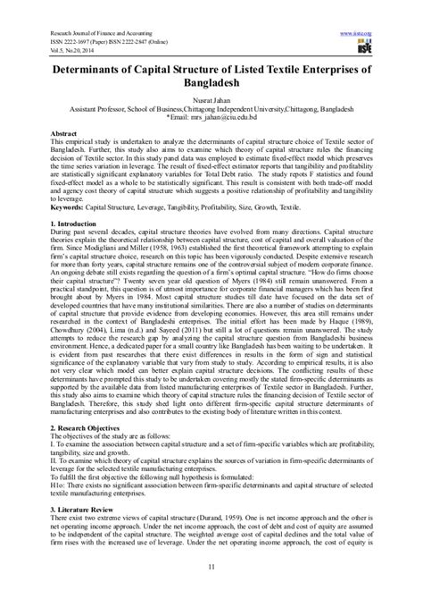 research paper on capital structure determinants of capital structure of listed textile