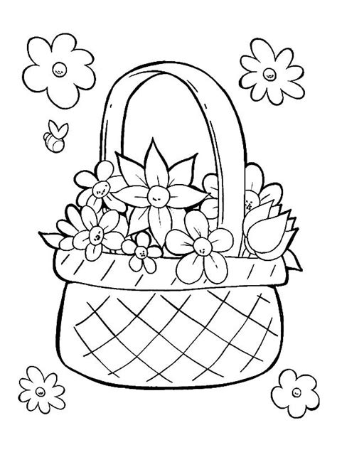 coloring pages basket of flowers free coloring pages of basket of flower