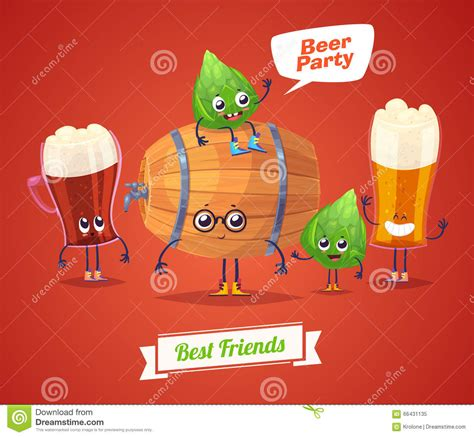funny beer cartoon set of beer characters vector cute cartoons stock vector