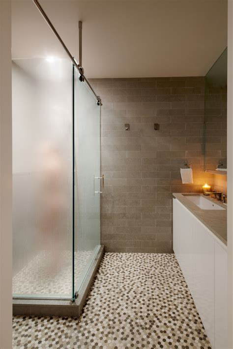 frosted glass in bathroom frosted glass tile bathroom contemporary with barn door