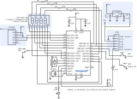 gammon forum electronics microprocessors alarm clock from atmega328 and 7 segment display