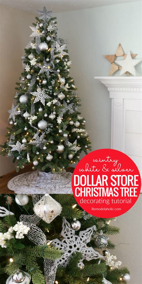 remodelaholic wintry white  silver christmas tree   dollar store