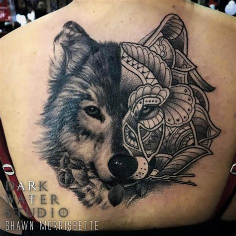 wolf mandala tattoo wolf mandala by shawn morrissette tattoonow