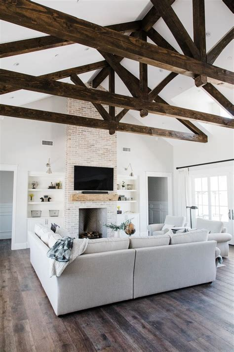 great room  custom exposed beam detail designed