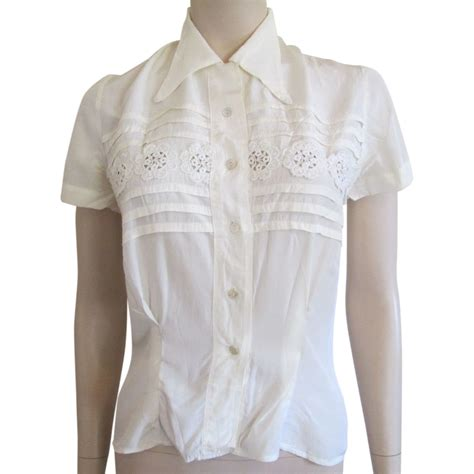Blouse Rayon lace rayon blouse vintage 1930s pintuck carved of pearl buttons sold on ruby