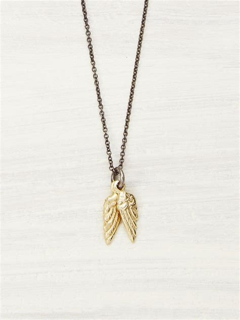 14k gold baby wings necklace lunessa