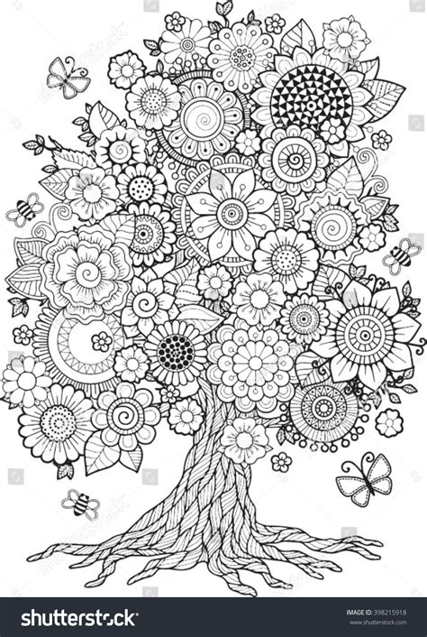 blossom tree vector elements coloring book stock vector