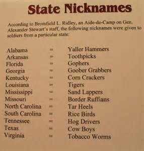 Nicknames For State Nicknames From The 1800 S Picture Of The White
