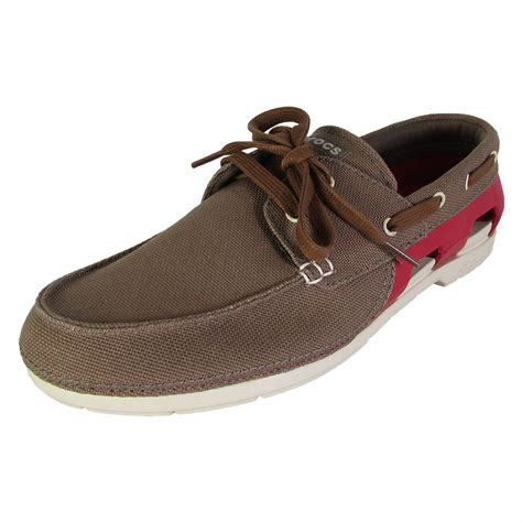 how to lace boat shoes crocs mens beach line lace up boat shoes ebay