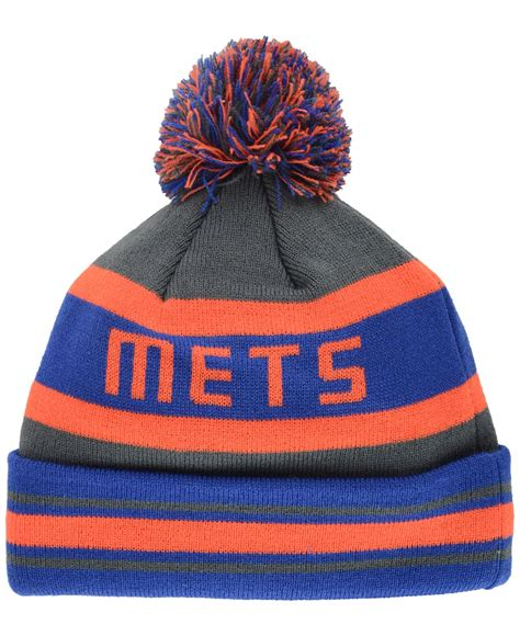 mets knit hat ktz new york mets jake graphite knit hat in gray lyst