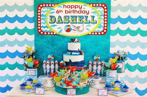 baby shark birthday theme kara s party ideas wet n wild shark themed birthday party