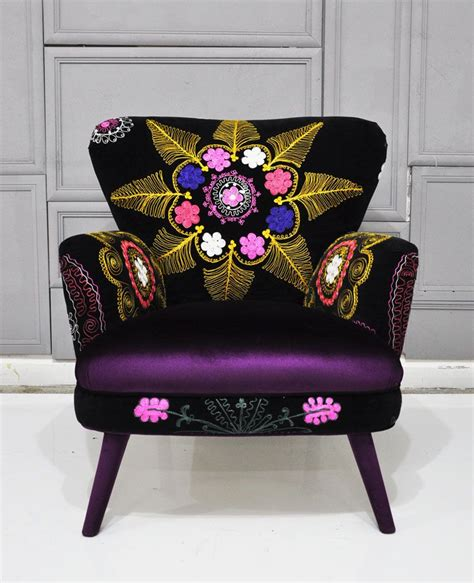 suzani fabric chair patchwork armchair with suzani and purple velvet