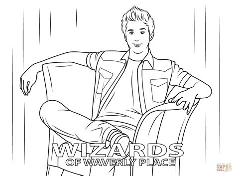 justin from wizards of waverly place coloring page free