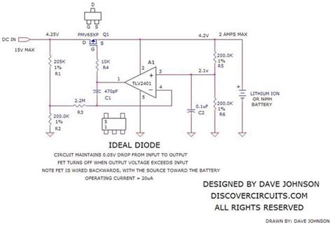 diode function and operation circuit forms ideal diode function basic circuit circuit diagram seekic