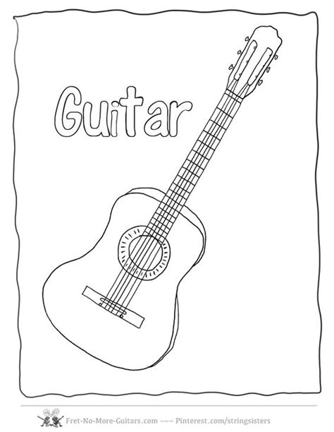 free coloring page of a guitar guitar coloring pages acoustic guitar at www fret no more