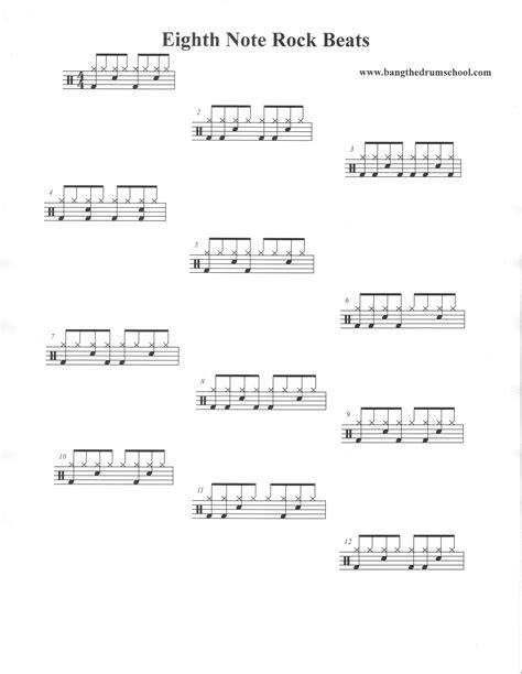 drum pattern worksheets essential beginner s rock beats bang the drum school