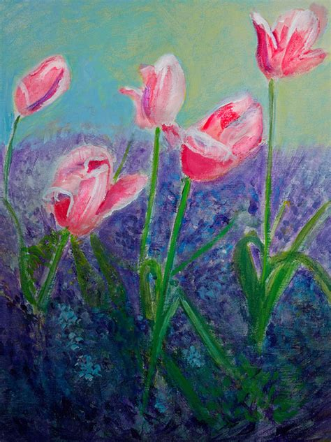 tulips  monets garden intuitive painting