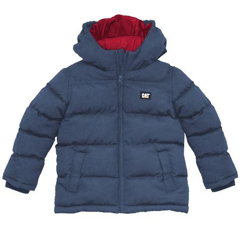 Jaket Caterpillar Sweater 2 new caterpillar boys warm winter puffa jacket cat padded puffer coat school blue ebay