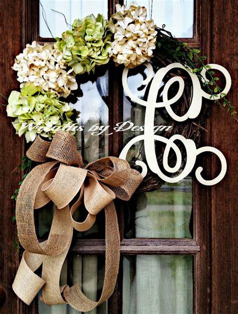 Initial Wreaths For Front Door Front Door Wreath Hydrangea Wreath Burlap Wreath Grapevine Country Burlap Bow On