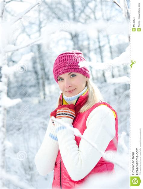 woman in winter clothing woman in winter clothing outdoors stock images image