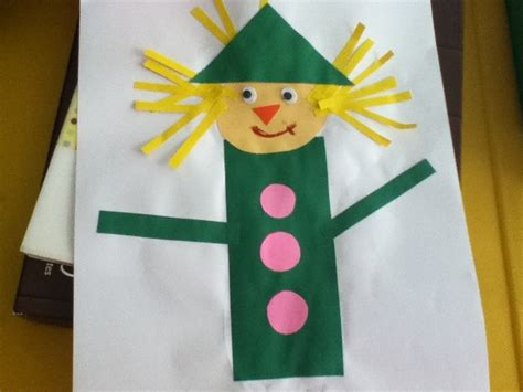 scarecrow pattern for kindergarten scarecrow shapes craft pre school activities pinterest