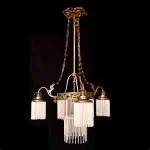 arts chandeliers nouveau bronze dore chandelier c 1915